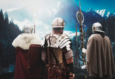 ancient legionary soldiers before battle
